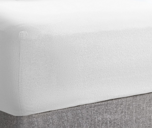 "Super Soft Stretch Terry Towel 10"" Deep Fitted Sheet, All Sizes, White Colour"
